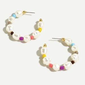 J Crew Rainbow Pearl Hoop Earrings Colorful NWT